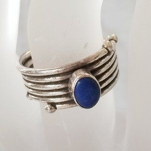 Jewelry - Vintage 925 Silver Lapis Modernist Wrap Ring 6